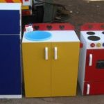 Stove Sink and Fridge in Primary Colours